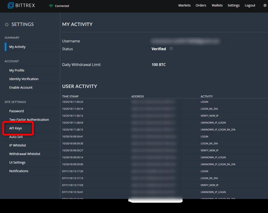 ビットレックスAPI設定方法